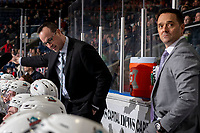 KELOWNA, BC - MARCH 6: Kelowna Rockets' head coach Kris Mallette and assistant coach Vernon Fiddler stand on the bench against the Seattle Thunderbirds at Prospera Place on March 6, 2020 in Kelowna, Canada. (Photo by Marissa Baecker/Shoot the Breeze)