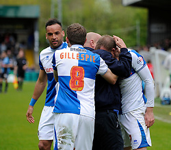 Bristol Rovers' David Clarkson celebrates his goal with a pitch invader - Photo mandatory by-line: Dougie Allward/JMP - Mobile: 07966 386802 26/04/2014 - SPORT - FOOTBALL - High Wycombe - Adams Park - Wycombe Wanderers v Bristol Rovers - Sky Bet League Two