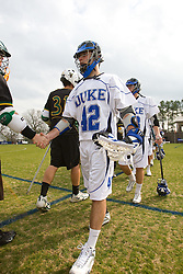 23 February 2008: Duke Blue Devils men's lacrosse midfield Kevin Young (42) in a 19-7 win over the Vermont Catamonts at Koskinen Stadium in Durham, NC
