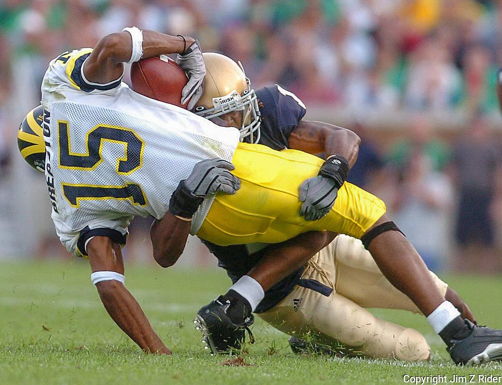 Notre Dame's Preston Jackson stops Michigan's Steve Breaston in his tracks.