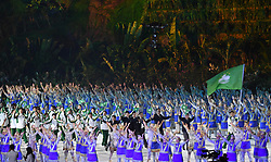 JAKARTA, Aug. 18, 2018  Delegation of China's Macao enters the Gelora Bung Karno (GBK) Main Stadium at the opening ceremony of the 18th Asian Games in Jakarta, Indonesia, Aug. 18, 2018. (Credit Image: © Wang Yuguo/Xinhua via ZUMA Wire)