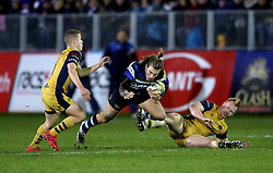 Bristol's Billy Searle (left) and Will Hurrell (right) take on Bath's Max Clark