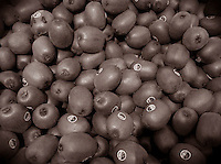 sepia toned kiwi fruit for sale in a grocery store