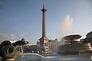 Nelson's column and fountain, Trafalgar Square, London, England Fountain,