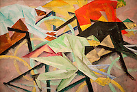 """National Gallery, Washington DC. Painting by Lyonel Feininger.  """"Cyclists"""".  1912"""