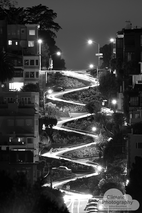 The famous Lombard Street crooked turns, San Francisco, CA.  October, 2015