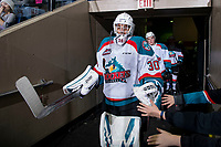 KELOWNA, CANADA - MARCH 2: Roman Basran #30 of the Kelowna Rockets heads to the ice for third period against the Portland Winterhawks  on March 2, 2019 at Prospera Place in Kelowna, British Columbia, Canada.  (Photo by Marissa Baecker/Shoot the Breeze)