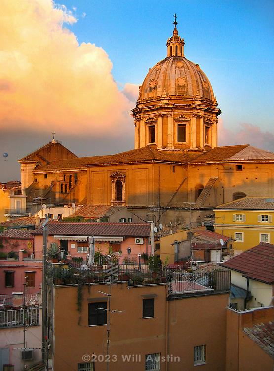 Sant'Andrea della Valle church as viewed from the Campo di Fiore area.
