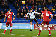 Rotherham's Alex Revell © watches as his header at goal is tipped onto the crossbar by Cardiff keeper David Marshall.  Skybet football league championship match, Cardiff city v Rotherham Utd at the Cardiff city stadium in Cardiff, South Wales on Saturday 6th December 2014<br /> pic by Andrew Orchard, Andrew Orchard sports photography.