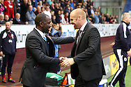 Huddersfield Town Manager Chris Powell (l) and Burnley Manager Sean Dyche shake hands prior to kick off. Skybet football league Championship match, Burnley v Huddersfield Town at Turf Moor in Burnley ,Lancs on Saturday 31st October 2015.<br /> pic by Chris Stading, Andrew Orchard sports photography.