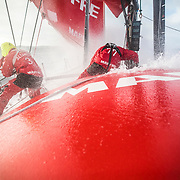 Leg 7 from Auckland to Itajai, day 10 on board MAPFRE, Guillermo Altadiull and Blair Tuke setting up the outrigger, 26 March, 2018.