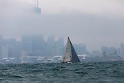 Bozos Circus USA 32851 sails past Navy Pier after the start to the 2018 Race to Mac