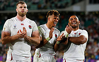 Rugby Union - 2019 Rugby World Cup - Quarter-Final: England vs. Australia<br /> <br /> George Kruis , Anthony Watson and Manu Tuilagi of England celebrate at Oita Stadium, Oita Prefecture.<br /> <br /> COLORSPORT/LYNNE CAMERON