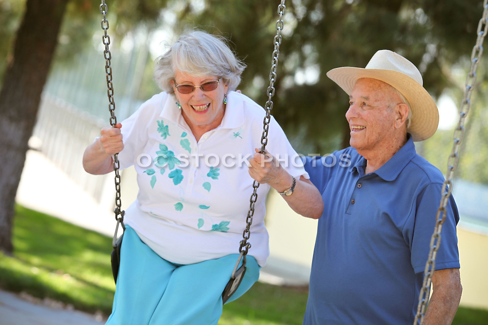 Cute Active Senior Couple In The Park