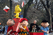 l to r: Lionel, Charlie Brown, Uno, Jonn Woodring, Co-owner and Lucy and  at The Macy's 82nd Annual ThanksGiving Day Parade held in NYC on Thankgiving Day, Novemeber 27, 2008..Macy's Thanksgiving Day Parade is internationally recognized as the official start to the holiday season and world famous as an American enterainment extravaganza. Each year, Macy's brings out a lineup of spactacular floats, Giant Hellium Balloons, Marching Bands, perfomance groups and top name stars from the television, film and recording industries.