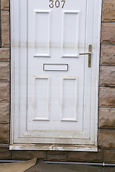 Tide marks on a front door after flooding at Toll Bar; South Yorkshire; July 2007,