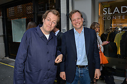 Left to right, TOM PARKER BOWLES and JAMIE ALLSOPP at a private view of photographs by Jolyon Fenwick 'The Zero Hours Panoramas' 100 Years On: Views From The Parapet of The Somme held at Sladmore Contemporary, 32 Bruton Place, London on 30th June 2016.