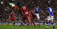 Photo: Paul Thomas.<br /> Liverpool v Cardiff City. Carling Cup. 31/10/2007.<br /> <br /> Darren Purse (5) scores for Cardiff.