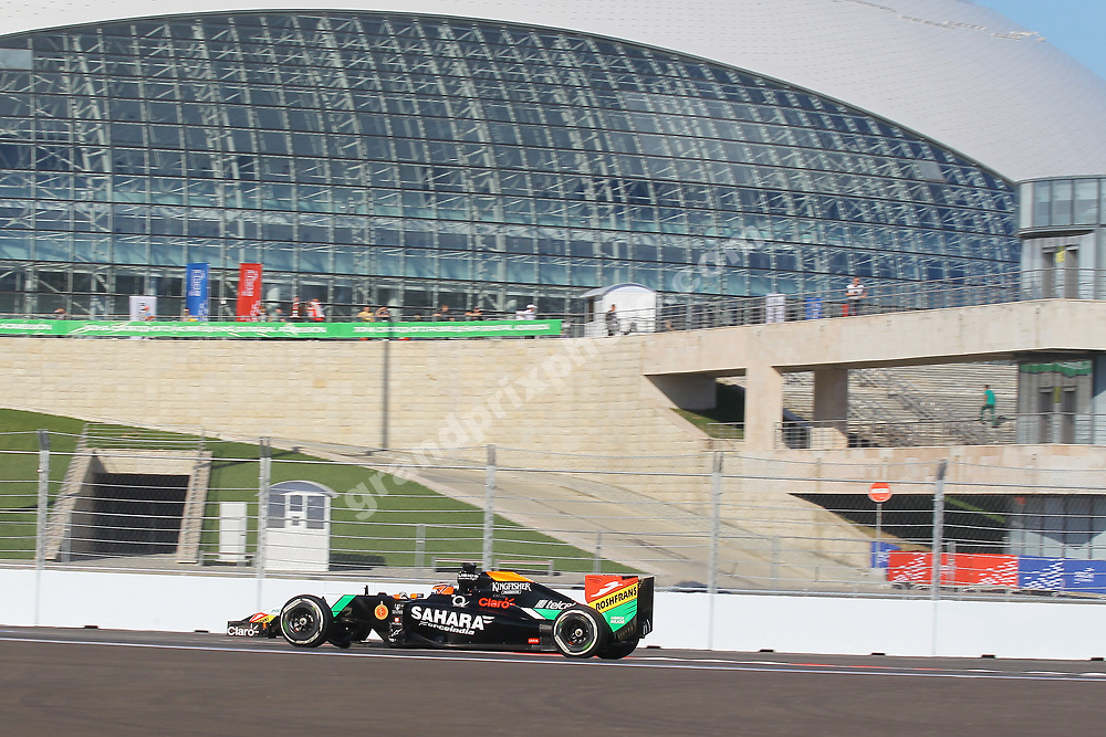 Nico Hulkenberg (Force India-Mercedes)  in practice for the 2014 Russian Grand Prix at Sochi. Photo: Grand Prix Photo