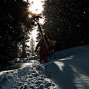 Tanner Flanagan hikes into deep backcountry terrain from Jackson Hole Mountain Resort.