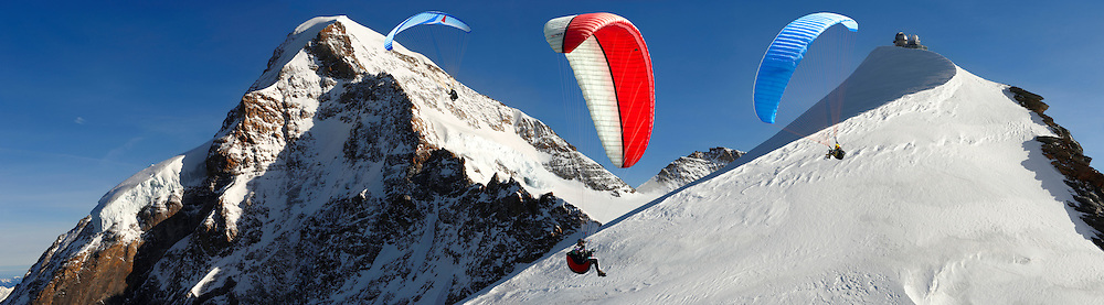 Paragliders near the Observatory at the Jungfrau Top of Europe - Swiss Alps - Switzerland .<br /> <br /> Visit our SWITZERLAND  & ALPS PHOTO COLLECTIONS for more  photos  to browse of  download or buy as prints https://funkystock.photoshelter.com/gallery-collection/Pictures-Images-of-Switzerland-Photos-of-Swiss-Alps-Landmark-Sites/C0000DPgRJMSrQ3U