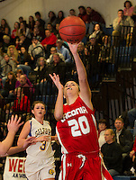 Laconia's Meya Minor takes a shot to the basket during the girls finals at the 41st annual Holiday Basketball Tournament at Gilford High School Tuesday evening.  (Karen Bobotas/for the Laconia Daily Sun)