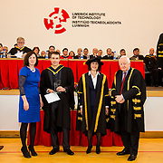 """05/11/2015       <br /> The President of Limerick Institute of Technology (LIT), Dr. Maria Hinfelaar, has warned that without investment in facilities and infrastructure, LIT will struggle to meet the growing demand for skilled graduates as the pace of job creation reaches new levels in Limerick.<br /> Speaking today at the opening ceremony for this year's conferring of 1700 students at LIT, Dr. Hinfelaar, president of one of Ireland's fastest-growing third level institutes, said that LIT is now """"incredibly tight for space and this year the problem is even more acute"""".<br /> Dr. Hinfelaar was speaking against the backdrop of over 6,000 new jobs having been announced for Limerick in the past two years.  She said that LIT needed """"a step change in capital funding"""" because of heightened industry demand for skilled graduates brought about by the success of the strategy to bring jobs to Limerick.<br /> <br /> The Modular Automation Award was awarded to Damien O'Sullivan for Excellence on the B.SC. (Honours) in Process and Engineering Management. The award was presented by Dr. Maria Hinfelaar, President LIT and Niall Greene, Chairman LIT Governing Body. Picture: Alan Place/Fusionshooters."""