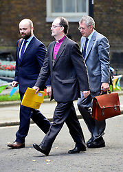 © Licensed to London News Pictures. 11/09/2012. Westminster, UK The Bishop of Liverpool James Jones (centre) on Downing Street today 11, September 2012. Photo credit : Stephen Simpson/LNP
