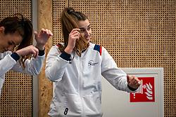 Pascalle Cnosen of Sliedrecht Sport, Julia Joosten of Sliedrecht Sport  in action during the first league match in the corona lockdown between Talentteam Papendal vs. Sliedrecht Sport on January 09, 2021 in Ede.