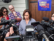 """04 JULY 2019 - INDIANOLA, IOWA: US Senator KAMALA HARRIS (D-CA) talks to reporters during a press gaggle at a campaign event in Indianola Thursday afternoon. Sen. Harris attended a """"house party"""" in Indianola as a part of her campaign to be the Democratic nominee for the US presidency in 2020. Iowa traditionally holds the first selection of the presidential election cycle. The Iowa caucuses are Feb. 3, 2020.       PHOTO BY JACK KURTZ"""