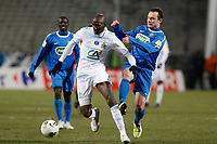 FOOTBALL - FRENCH CUP 2011/2012 - 1/8 FINAL - BOURG PERONNAS v OLYMPIQUE MARSEILLE - 15/02/2012 - PHOTO PHILIPPE LAURENSON / DPPI - ALOU DIARRA (OM)