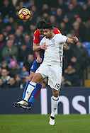 Crystal Palace's Joel Ward tussles with Chelsea's Diego Costa during the Premier League match at Selhurst Park Stadium, London. Picture date December 17th, 2016 Pic David Klein/Sportimage