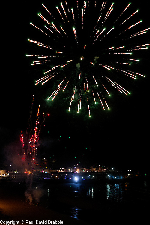 Fireworks on the beach after the Scarborough Goldwing Light Parade 2015 from the terrace of the Grand Hotel<br />  11 September 2015<br />  Image © Paul David Drabble <br />  www.pauldaviddrabble.co.uk
