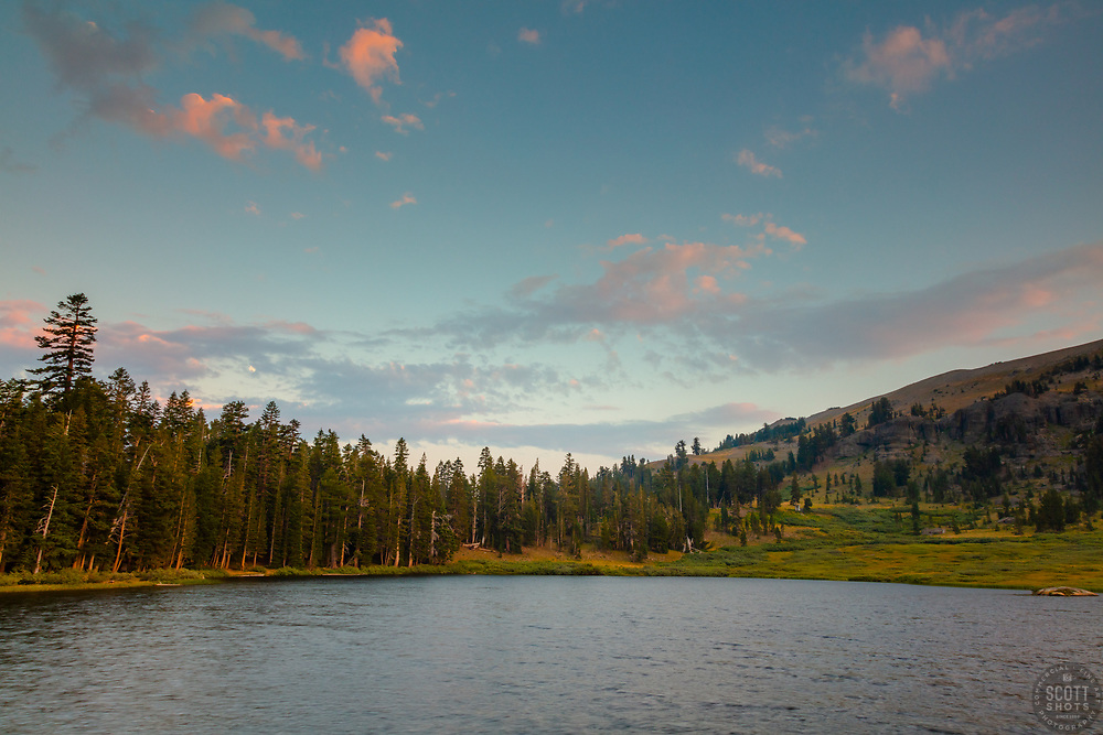 """""""Showers Lake Sunset 1"""" - Photograph of a sunset at Showers Lake which is along the Tahoe Rim Trail and the Pacific Crest Trail, south of South Lake Tahoe a bit."""