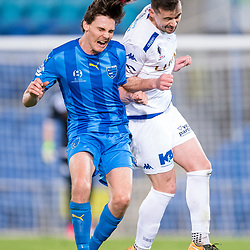 BRISBANE, AUSTRALIA - SEPTEMBER 20: Jason Campbell of Gold Coast City and Matthew Foschini of South Melbourne compete for the ball during the Westfield FFA Cup Quarter Final match between Gold Coast City and South Melbourne on September 20, 2017 in Brisbane, Australia. (Photo by Gold Coast City FC / Patrick Kearney)