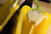 Sweet yellow bell pepper sliced