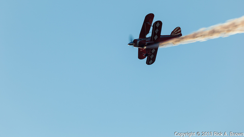 Will Allen, the Flying Tenor, flying maneuvers in his Pitts Special flying at the Airshow of the Cascades.