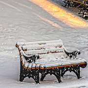 This bench is at the Loyola Jesuit Center inMorristown, NJ.  I was shooting at first light and was taken by the shapes, colors and textures of this scene.  In this image I have stressed the details and the golden light.