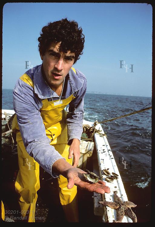 Jean Pierre Allenou, IFREMER biologist, holds empty shell of flat oyster eaten by seastar. France