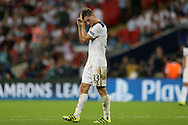 Ben Davies of Tottenham Hotspur dejected after the final whistle. UEFA Champions league match, group E, Tottenham Hotspur v AS Monaco at Wembley Stadium in London on Wednesday 14th September 2016.<br /> pic by John Patrick Fletcher, Andrew Orchard sports photography.
