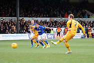 Newport's Adam Chapman scores his sides 2nd goal from a penalty.  Skybet football league two match, Newport county v Chesterfield at Rodney Parade in Newport, South Wales on Sunday 1st Dec 2013. pic by Andrew Orchard, Andrew Orchard sports photography,