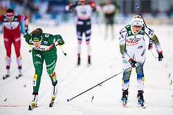 November 24, 2018 - Ruka, FINLAND - 181124 Lucia Scardoni of Italy and Maja Dahlqvist of Sweden crosses the finish line when competing in a women's sprint classic technique quarterfinal during the FIS Cross-Country World Cup premiere on November 24, 2018 in Ruka  (Credit Image: © Carl Sandin/Bildbyran via ZUMA Press)