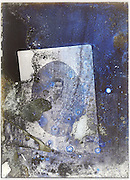 portrait photo re-photographed on a severely eroded glass plate