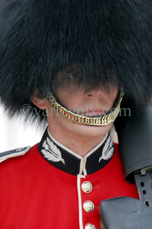 21 April 2011. London, England..A Royal foot guard, a member of the Scots guards and his bearskin hat  outside Clarence House near  Buckingham Palace in the run up to Catherine Middleton's marriage to Prince William..Photo; Charlie Varley.