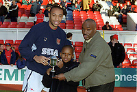 Thierry Henry (Arsenal) recieves the Match of the Day goal of the month award. Arsenal 5:0 Newcastle United, F.A.Carling Premiership, 9/12/2000. Credit Colorsport / Stuart MacFarlane.