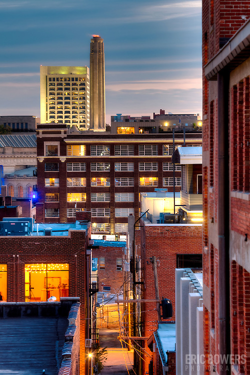 Vertical photo of the Crossroads District, Liberty Memorial and the Federal Reserve Bank of Kansas City building, downtown Kansas City, Missouri.