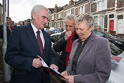 "© Licensed to London News Pictures. 16/02/2017. Bristol, UK. JOHN MCDONNELL MP, Shadow Chancellor, visits 12 Station Road Ashley Down, the former home of Walter Ayles who was imprisoned in 1916 for his opposition to the First World War. In April 2016 the Bristol Remember the Real World War One Group unveiled a plaque on Walter Ayles' former home. The Bristol Radical History Group has just published ""Slaughter No Remedy"", a short biography of Walter Ayles, written by Colin Thomas and with an introduction by John McDonnell. In 1950, Walter Ayles became the M.P. for Hayes and Harlington, the constituency now held by John McDonnell. In his introduction to the Ayles' biography McDonnell writes: ""I hope I can live up to being half of the socialist and peace promoter he so finely was."" In the book Ayles is quoted as saying: ""Because horrible outrages and ghastly crimes have been committed by others, that is no reason why I too should kill and maim and destroy…Hate cannot be destroyed by hate. It can only be transformed by love."" Exactly a hundred years after Ayles appeared before a Military Service Tribunal in what is now the Bristol Register Office, his tribunal was re-enacted. He said ""If I believed in the efficacy of slaughter to remedy evils"" he told the tribunal, ""I would long ago have advocated the killing of those in England who, year after year, have been responsible for the sweated, the starved and the slummed."" Then added -""I know, however, in my heart of hearts that slaughter being wrong is no remedy."" Photo credit : Simon Chapman/LNP"