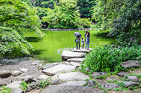 Sanshiro Pond was once known as Ikutokuen Shinji-ike, and forms a part of Tokyo University's on campus Japanese garden.  The pond and garden were constructed in 1638 along with the surrounding Ikutokuen Garden by Toshitsune Maeda, Lord of the Kaga Domain. It was ranked as the best garden created by feudal lords in Tokyo during Edo Period but the pond element is all that is left of Ikutokuen Garden.  The pond has come to be known as Sanshiro Pond from the novel Sanshiro by Soseki Natsume. In the story, the pond is described as the place where the protagonist meets the woman he admires.