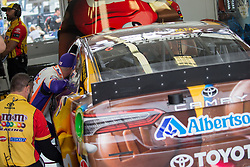 March 1, 2019 - Las Vegas, NV, U.S. - LAS VEGAS, NV - MARCH 01: Denny Hamlin (11) Joe Gibbs Racing (JGR) Toyota Camry talks to Kyle Busch (18) Joe Gibbs Racing (JGR) Toyota Camry during practice for the Pennzoil 400 Monster Energy NASCAR Cup Series race on March 01, 2019, at the Las Vegas Motor Speedway in Las Vegas, Nevada (Photo by Matthew Bolt/Icon Sportswire) (Credit Image: © Matthew Bolt/Icon SMI via ZUMA Press)