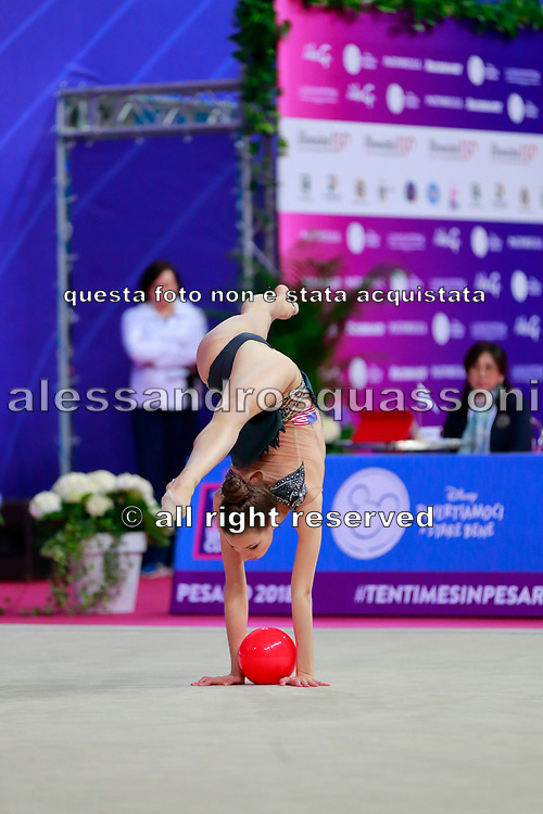 Griskenas Evita during the qualification of ball at the World Cup Pesaro 2018. Evita is a promising young American athlete born in Chicago in 2000.Today is Senior Member of United States National Team.